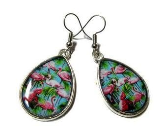 TEARDROP EARRINGS - Pink Flamingo Earrings - Flamingo Earrings - Pink Flamingos - Cute Earrings - Exotic - Kawaii Earrings - Pink Earrings
