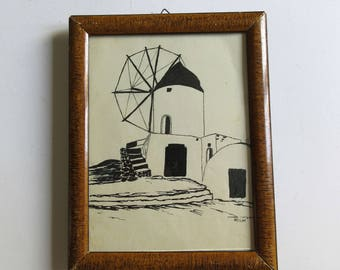 30's original ink drawing, watermill, signed and framed