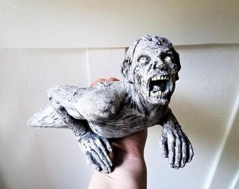 Zombie statue, book end, creepy centerpiece, zombie decor, dorm decor, walking dead gift, geek chic