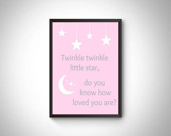 Nursery print, nursery decor printable, nursery art, twinkle twinkle little star print, girls room print, nursery rhyme, baby girl nursery