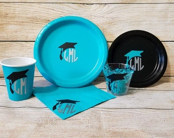 personalized graduation party paper cups plates napkins box