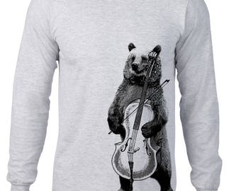 Long Sleeve Shirt, Bear Playing Cello Tshirt, Bear T Shirt, Band, Music, Orchestra, Musical Animal Tee, Ringspun Cotton, Mens Plus Size