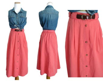 Watermelon Skirt High Waisted Midi Skirt 80s 1980s Size Large L Pockets Button Up Pink A-line Elastic Waist Belted
