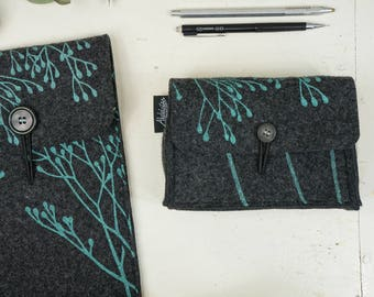 Sleeve Set Vegan, Laptop Hard-Drive Cases, Notebook + Charger Bag Set, Matching Covers, Dark Grey, Mint Floral Print, ecofriendly