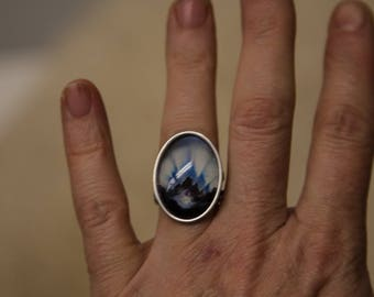 Art Ring, stainless steel jewelry with art reproduction and 18x25mm glass cabochon