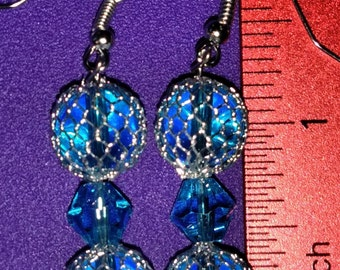 Blue Captured Bead Earrings