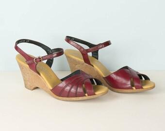 Vintage Naturalizer Wedges 1970's Strappy Sandals Size 8 Burgundy Wedges Super Comfy Sandals Summer Heels Boho Festival Style