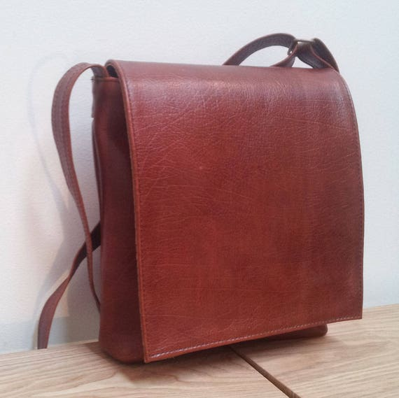 Leather Messenger Bag, brown cowhide leather, small travel bag, handmade.
