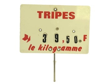 French Butchers Tripe Price Ticket Label. Old Store Display Sign.