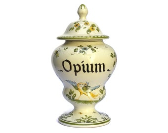 Vintage Opium Apothecary Jar. Large Hand Painted French Moustiers Faience Pharmacy Jar with Lid. Curiosity Cabinet Decor.