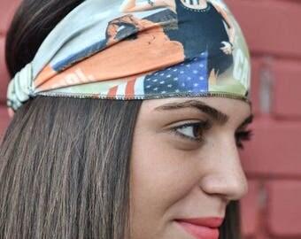 Elastic Jersey Headband, USA Turban, Bandana Headband, Elastic Headband, Fitness Headband, Vintage Headbands, Turban Headband, Womens Turban