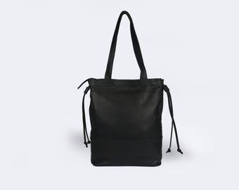 MOTHER DAY SALE - Black leather bag, Black hobo bag, Black laptop bag, Women Laptop tote, Black large bag, Shoulder Black bag, Tote