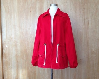 Red Canvas Jacket John Weitz for Lord and Taylor size L