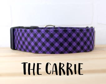 Purple Plaid Dog Collar for Halloween for Boy/Girl Dog. Can be made in a Buckle or Martingale Collar. PLEASE READ Item Details