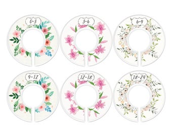 Baby Closet Dividers, Pretty Flowers, Girl, Set of 6 Size Organizers