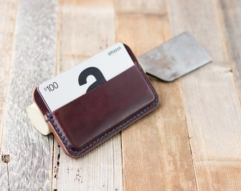 Leather Card Holder Leather Card Wallet Shell Cordovan Card Holder Horween Shell Cordovan Wallet Leather Card Sleeve Minimalist Wallet