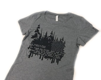 Women's Tshirt Robert Frost Poem, Stopping by Woods on a Snowy Evening, the woods are lovely dark & deep...I have miles to go before I sleep