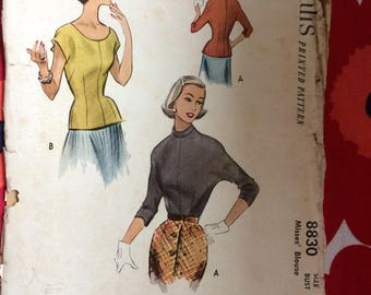 1950s 50s blouse shirt original vintage sewing pattern McCalls 8830 Bust 34