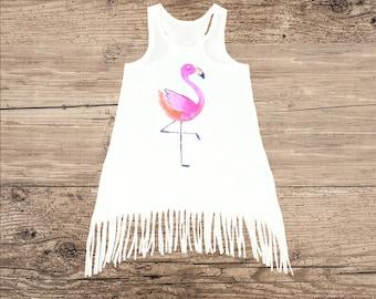 Flamingo Dress for Baby, Toddler Dress, Fringe Tank Top Dress