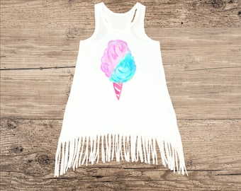 Cotton Candy Dress, Cute Dress with Fringe
