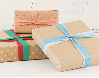 Wrapping Paper - Gift Wrap - Dots on Kraft - 5 ft Roll