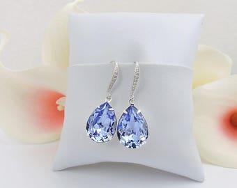 FREE US Ship Provence Lavender Swarovski Teardrop Bridal Earrings In Silver Swarovski Lavender Bridal Earrings Lavender Crystal Earrings