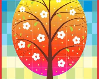 "Cute ""Mosaic Spring / Summer Tree"" card, digital card, clip art, printable, vector, instant download, illustration, eps, ai"