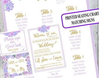 Floral Wedding Seating Chart Sign/Watercolor Floral/Purple Flowers/Printed Seating chart/PDF/Matching Signs