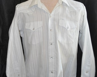 Mens Vintage 1970s Panhandle Slim Western Shirt 16-34 XL White & Silver Long Sleeve