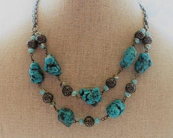 Turquoise and Antique Brass Multi Strand Necklace, Natural Turquoise, Crystals,  Turquoise Jewelry, Boho Chic, Statement Necklace