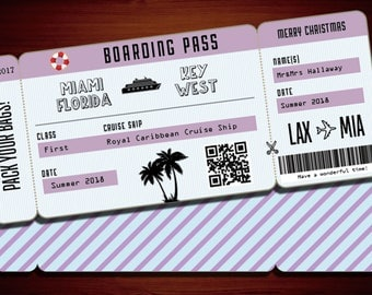 Printable Custom Boarding Pass  Airline Ticket, Airplane Destination Train Cruise Plane- Fake ticket to give as a gift! Print at home!