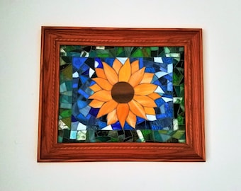 Summertime Sunflower Mosaic Wall Hanging, Yellow Stained Glass Sunflower Design, Beautiful Glass Art, Yellow Sunflower Art, Unique Gift Idea