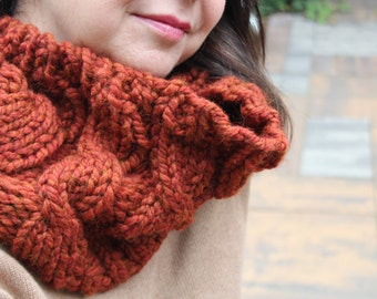 "Cabled Cowl, Burnt Orange ""The Emma"""