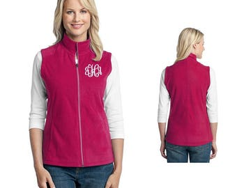 Womens Vest - Microfleece Monogrammed Vest, Personalized with Embroidered Monogram for Travel or Casual Wear in Your Choice of Colors.