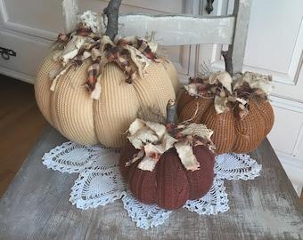 Sweater Pumpkins Set of 3 fabric pumpkins Fall decor shabby cottage chic farmhouse style