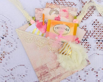 Roses and Hearts Pocket Card, Thinking of you, Happy Birthday, Friendship, Paper Ephemera, Free USA Shipping
