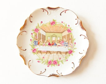 Vintage white with 18K gold trim decorative plate - wall hanging  - The Last Supper / decor made in Japan
