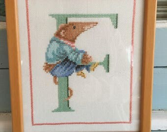 Handmade Vera the Mouse Letter F Framed Cross Stitch Marjolein Bastin Nursery Decor