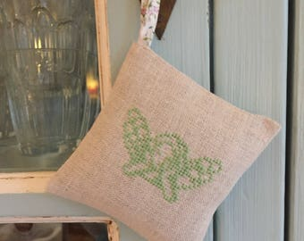 Handmade Angel Lavender Sachet Cross Stitch Liberty of London Fabric