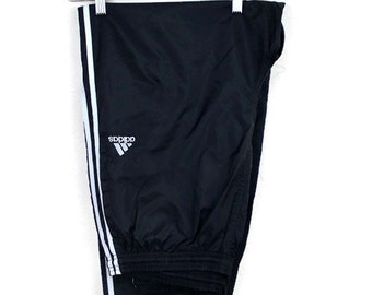 90s Vintage ADIDAS Nylon Joggers Track Pants 3 Stripe Windbreaker Pants Fitted Embroidered Adidas Logo Black and White Size XL