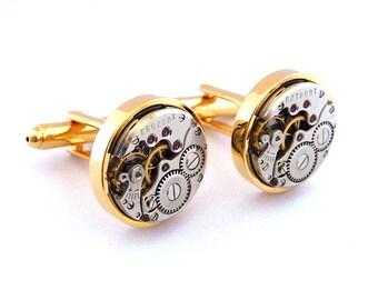 Steampunk Cufflinks, Vintage Clockwork Watch Movement Gold Cuff Links. Steampunk Wedding Gift.
