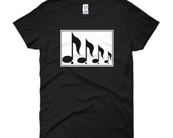 Womens Music Shirt - Music Notes Tshirt - Short Sleeve Shirt for Girls Music T Shirt - Graphic Art Shirt for Her-Black Cotton T Shirt Teen