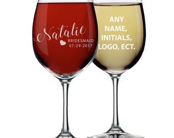 Bridesmaid Wine Glasses, Personalized Wine Glass, Bridesmaid Gift, Custom Wine Glasses,  Wine Glasses Personalized, Etched Wine Glasses