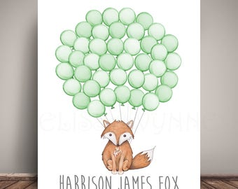 Woodland Fox Baby Shower Guest Book Alternative  - Balloon Sign In - Guest Book Poster - Fine Art Print