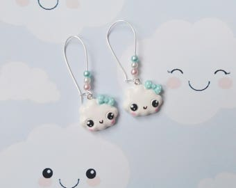 earrings kawaii cloud polymer clay