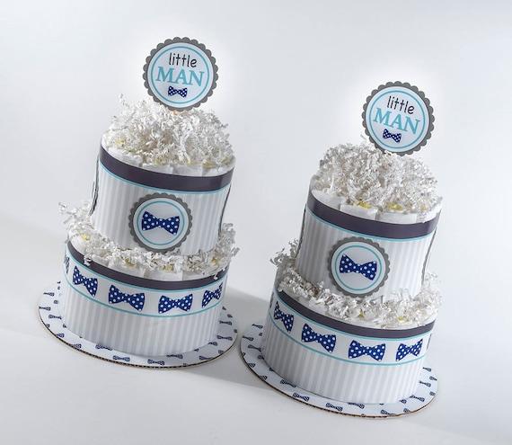 Twin Diaper Cakes - Twin Diaper Cake Set - Little Man Diaper Cakes - Bow Tie Baby Shower - Little Man Theme Baby Shower - Baby Shower Decor