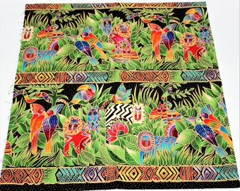 Laurel Burch Oop JUNGLE SONGS Border Stripe Fabric - By the Half Yard