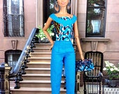 ON RESERVE for SJ- Barbie Doll Pant Set - Aqua-Blue African Print Pant Set, Head-wrap, Earrings, Purse, and Shoes