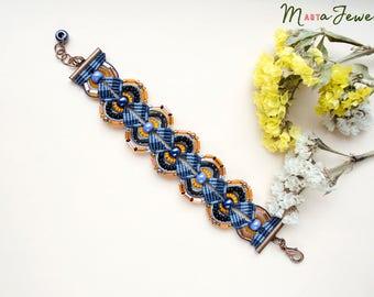 Beaded bracelet, micro macrame jewelry, elegant, minimalist, special occasion, beadwork, navy blue black orange, unique gift for her