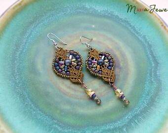Macrame earrings, bohemian earrings, flower, beaded, unique jewelry, beadwork, floral, bronze, larvikite, gemstone, special gift for her